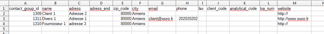 CSV contacts