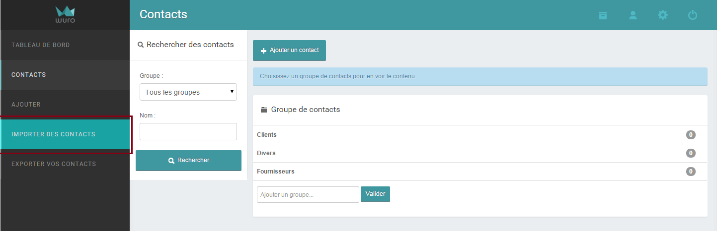 Importer des contacts sur wuro