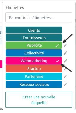 Attribution etiquettes