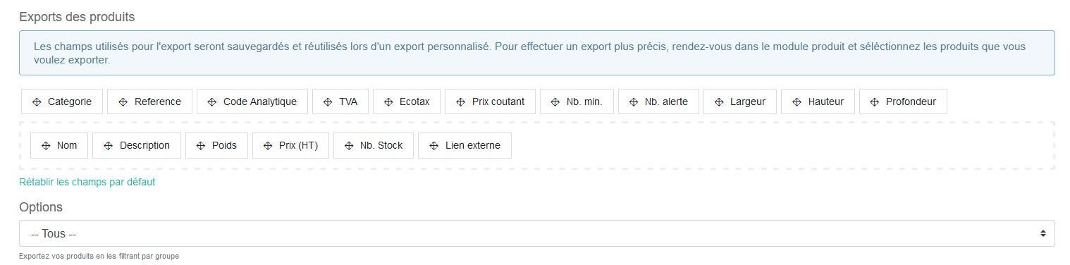 Export pdts choix