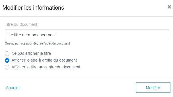 Titre doc option