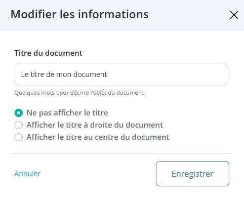Titre document modifier