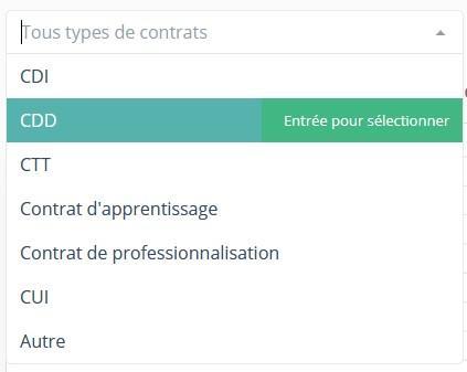 Type contrat filtre stats